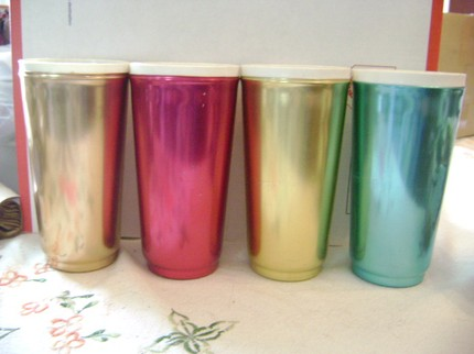 Jason & I both remember drinking out of glasses like these when we were kids. I loved the metallic taste and feel. Probably my iron deficiency.